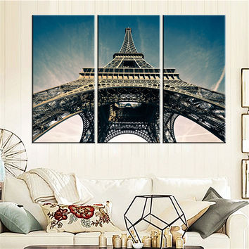 Modern Canvas Painting Eiffel Tower Art Picture Oil Painting Home Decor Paris Landscape Modular Wall Painting No Frame 3 Pieces