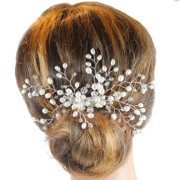 Freshwater Pearl Side Tiara, Wedding Hair Comb, Wedding Headdress, Bridal Hair Comb