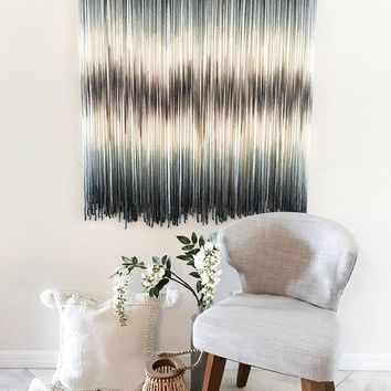 dip dye tapestry,fiber art,wall hanging,wall art,wall accessories,home decoration,yarn wall hanging,home accent,wall accent,coastal decor