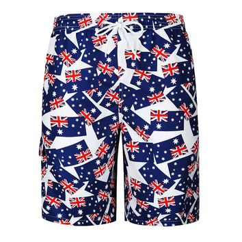 Summer Hawaiian Mens Beach Board Shorts Swimwear Loose Australian Flag Printed Tropical Elastic Waist Board Shorts