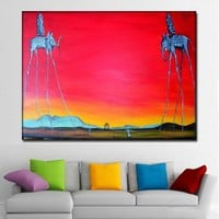 Salvador Dali Elephant Long Legs Paintings Red Background Canvas Printed Wall Art Prints Poster For Living Room Home Decor