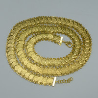 (L:100cm,W:1.7cm)Arab Coin Long Chain Belt for Women 18k Gold Plated Jewelry Wedding Bride Belt Islam Middle East Africa