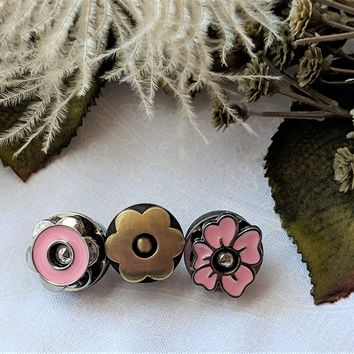 Magnetic Snaps 17mm Floral Purse Snaps Trio