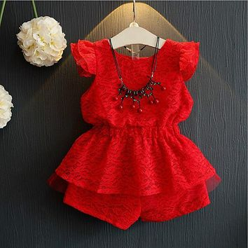 2017 New Girls Summer Clothes Set Kids Lace Red Top and High Waist Pants 2 Piece Set Children Suits Clothing Set CE647