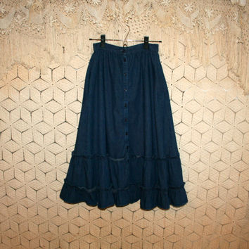 80s Vintage Gunne Sax Denim Skirt XS Ruffled Prairie Skirt Size 0 Skirt Size 2 Skirt Button Up Full Skirt Western Cowgirl Womens Clothing