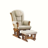 Shermag Contemporary Glider Rocker Combo with Lock, Chestnut/Pearl Beige