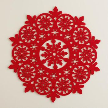 Red Felt Snowflake Placemats, Set of 4
