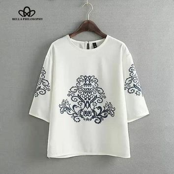 CREYET7 2015 summer autumn new vintage ethnic black baroque floral placement print half sleeve white pullover blouse shirt