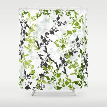 "Custom Shower Curtain -  71"" by 74"" Home, Decor, Bathroom, Bath, Dorm, Girl, Christmas, Gift, Boho, Custom, Floral, Pattern, Green, White"