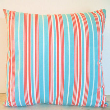 Striped Pillow- Blue and Red- Stuffed Pillow- Throw Pillow