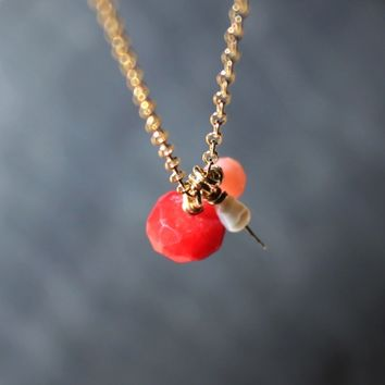 Supermarket: Red Pink White Organic Gem Coral Pearl Dainty Gold Pendant Necklace - Delicate Simple Modern Minimalist Jewelry - BERRIES by 5050 STUDIO from 5050 Studio