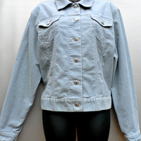 Lands End Corduroy Jacket - Denim Western Style - Metal Button Front - Light Aqua Blue - Women's Size Large (L)