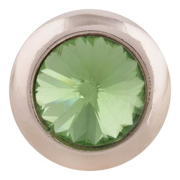 "Snap Charm Rose Gold Border Peridot Stone Standard 19mm 3/4"" Diameter Fits Ginger Snaps"