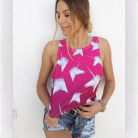 UNICORN CROP TANK- PINK