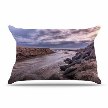 "Nick Nareshni ""Clouds Over Carlsbad Beach"" Blue Coastal Pillow Case"