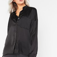 Ellis Black Satin Blouse