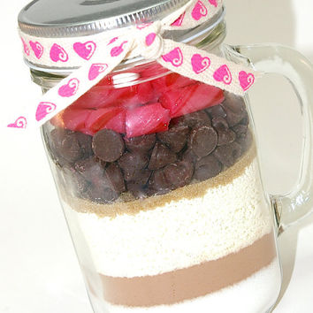 Mexican Hot Chocolate Mix with Ancho Chile in Mason Jar Mug- Spicy Hot Cocoa Layered with Cinnamon Stick Candy