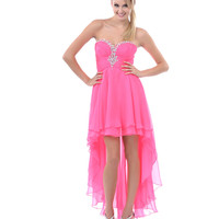 2014 Prom Dresses - Hot Pink Rhinestone Sweetheart Strapless High-Low Dress - Unique Vintage - Prom dresses, retro dresses, retro swimsuits.