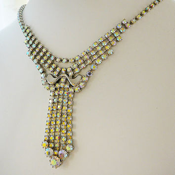 Vintage .. Bib Necklace, Clear AB Rhinestones, Waterfall Statement Wedding Bride Bridal