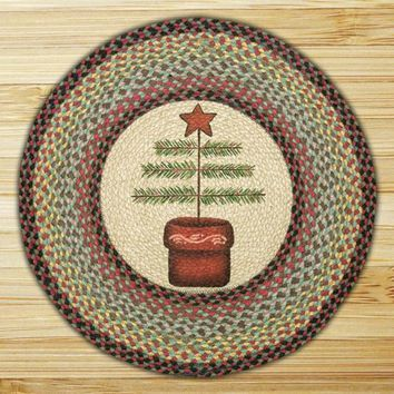Feather Tree Round Patch Rug