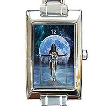 "Artistic "" Water Goddess"" Rectangular Italian Charm Watch.Think Small Wrist"
