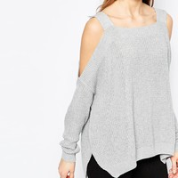 ASOS Chunky Jumper With Cold Shoulder And Side Splits at asos.com