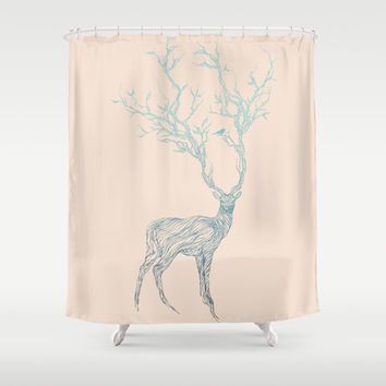 Blue Deer Shower Curtain by Huebucket