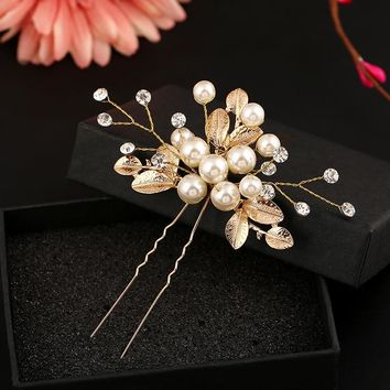 3 piece/pack New Bridal Hairpins Wedding Hair Accessories Party Prom Hair Jewelry for Women Handmade Pearl Flower Headpiece