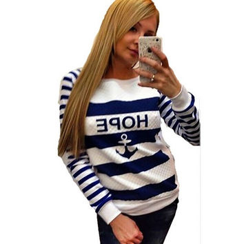 Women Anchor Printed Hoodies Striped Causal Sweatshirts Tracksuits Sports Suit Swag Paris Pullovers = 1931635140