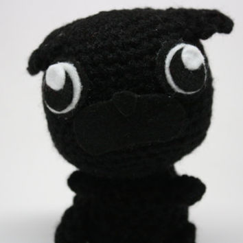 Cute Kawaii Black Pug Plush Toy - Handmade Crochet Amigurumi Stuffed Animal - Puppy Dog