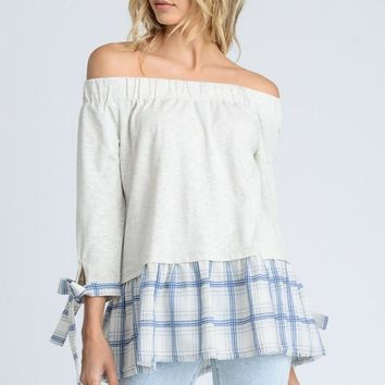 Long Sleeves with Bowtie detail Off the Shoulder Top - Heather Grey