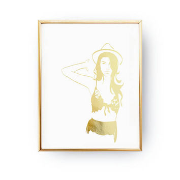 Lace Silhouette Print, Wardrobe Art, Fashion Poster, Modern Wall Art, Real Gold Foil Print, Bedroom Decor, Illustration Poster, Home Decor