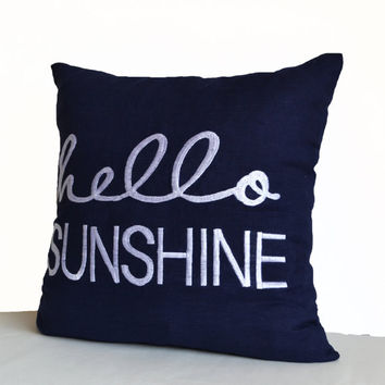 Hello Sunshine Pillow Cover -Linen Pillowcase -Embroidered Cushions -Decorative Throw Toss Pillow -Accent Pillows -For Her -Christmas Gifts