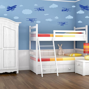 Wall Decal Planes and Clouds - Nursery Wall Art Decor Stickers Kids Vinyl Wall Decals