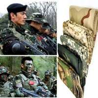 Tactical Military Style Camo Mesh Neck Scarf Scrim Net Sniper Face Veil Airsoft Army SAS Manggeon For Wargame, Sports & Other Outdoor Activities (Light CP Camo)