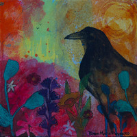 Sunny Day Crow art giclee with sun with flowers and nature