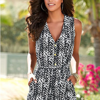 Black And White Print Loose Romper B007808