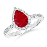 Classic Diamond Halo Pear Shape Ruby Ring