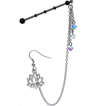 Lotus Industrial Barbell Chain Earring Created with Swarovski Crystals