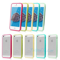 [flash Candy Color TPU Bumper Frame Matte Clear Hard Back Skin Case Cover for Apple iPhone 4S 5S 5C Christmas gift = 5987992961