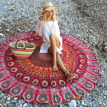 LMF9GW Indian Mandala Round Tapestry Wall Hanging Beach Throw Towel Yoga Mat Boho Decor