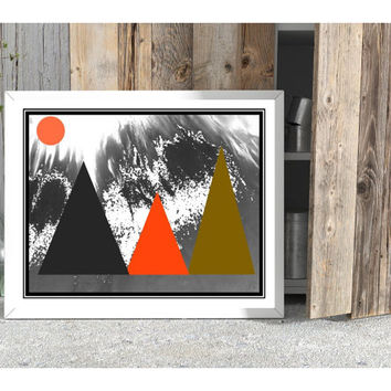 Nordic printable, mountain art download, Scandinavian wall art, minimal art print, grey coral avocado, mod bedroom decor, home office decor
