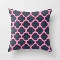 pink and navy clover Throw Pillow by her art