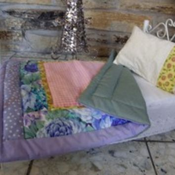 "Handmade 18"" Doll Bed Quilt for Soft Bodied dolls such as American Girl"