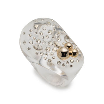 Liquid Lucite with Diamond Dust Cocktail Ring | Alexis Bittar