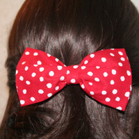 Red and White Polka Dot Hair Bow - Clip on