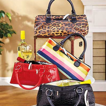 Insulated Clutch Bag Wine Bottle Carrier Tote Zippered Portable Lunch Discreet