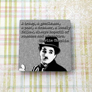 Charlie Chaplin Quote Vintage Hollywood Ceramic Tile Refrigerator Fridge Magnet Cubicle Dorm Decor Magnet Board