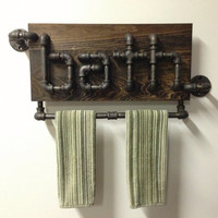 "Industrial Black Iron Pipe Bathroom Towel Holder the the ""Ostertag"""