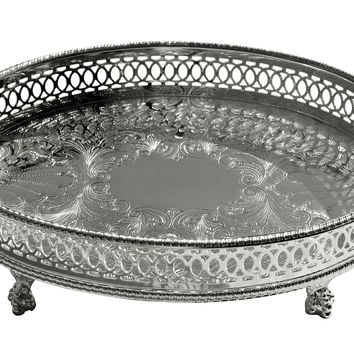 Silver-Plated Footed Sheffield Tray, Decorative Trays